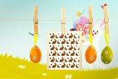 stock photo of bunny easter  - easter bunnys against easter bunny with eggs - JPG