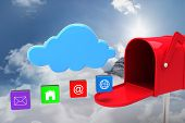 stock photo of postbox  - Red email postbox against mountain peak through the clouds - JPG