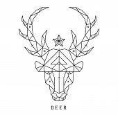 foto of deer head  - Stylized deer head silhouette with triangles design - JPG