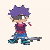 Постер, плакат: Skater Boy Theme Elements