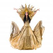 stock photo of carnival rio  - carnival dancer woman dancing with crown - JPG