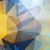 picture of polygon  - Gold and blue Polygonal abstract geometry background - JPG