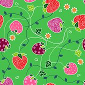 stock photo of drow  - Seamless pattern with strawberries flowers and leaves on a green background - JPG