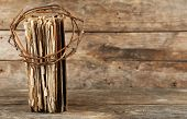 foto of crown-of-thorns  - Crown of thorns and bible on old wooden background - JPG