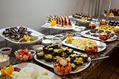 foto of chinese restaurant  - food buffet in restaurant. Food buffet in asian style