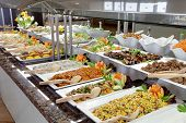stock photo of buffet  - food buffet in luxury restaurant - JPG