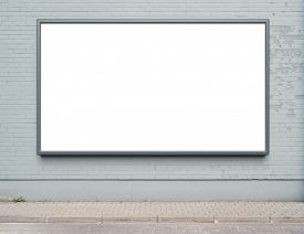image of street-art  - Blank advertising billboard on a street wall - JPG