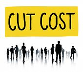 foto of reduce  - Cut Cost Reduce Recession Deficit Economy FInance Concept - JPG