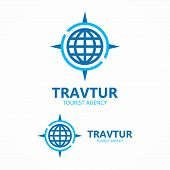 image of cartographer  - Vector logo design element with business card template - JPG