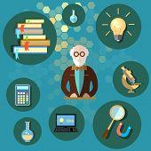 foto of professor  - Education and science professor teacher university college school textbooks physics chemistry mathematics vector illustration - JPG