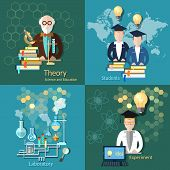stock photo of experiments  - Science and education proffesor international education students college university scientific laboratory experiment vector icons - JPG