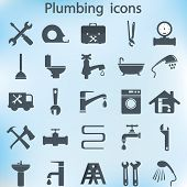 stock photo of clog  - plumbing objects and tools icons  - JPG