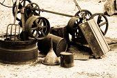 foto of junk  - Old mining junk left  by the side - JPG