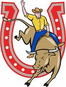 stock photo of bucks  - Illustration of rodeo cowboy riding bucking bull with horseshoe in the background done in cartoon style - JPG
