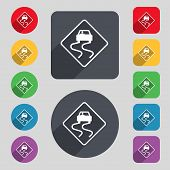 foto of slippery-roads  - Road slippery icon sign - JPG