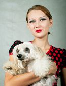 Girl And Chinese Crested Dog