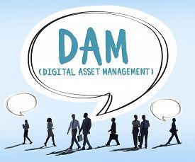 stock photo of asset  - DAM Digital Asset Management Organization Concept - JPG