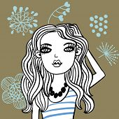 picture of young girls  - Cute girl in cartoon style - JPG