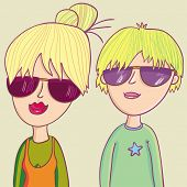stock photo of teenage boys  - Modern teenagers in cartoon style - JPG