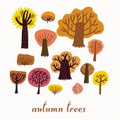 Autumn trees, cartoon vector set