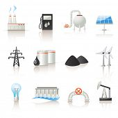 stock photo of hydroelectric  - Power industry icon set - JPG