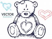 image of teddy-bear  - Hand drawn teddy bear - JPG