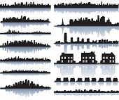 set of vector detailed cities silhouette