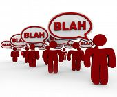 pic of noise pollution  - Many red people standing in crowd talking with speech bubbles containing word Blah - JPG