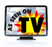 picture of high-def  - A HDTV television with the words As Seen on TV on the screen - JPG