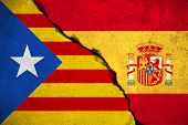 Spain Flag On Broken Brick Wall And Half Catalan Flag, Vote Referendum For Catalonia Independence Ex poster