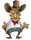 stock photo of sixgun  - Cartoon cowboy with sixguns on his gun belt - JPG