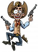 stock photo of gunfights  - Cartoon cowboy jumping up and down with six guns - JPG
