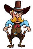 picture of gunfighter  - Cartoon cowboy with a gun belt - JPG