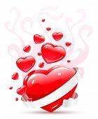Valentines ornament with red love heart vector illustration