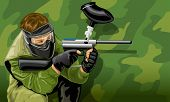 vector illustration paintball game player shooting