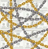 business concept - chain protecting money - vector illustration