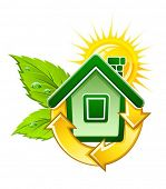 symbol of ecological house with solar energy vector illustration, isolated on white background
