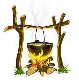 day touristic campfire and kettle with food vector illustration