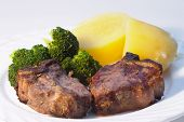 stock photo of lamb chops  - two lamb chops - JPG