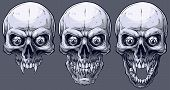 Detailed Graphic Realistic Cool Black And White Human Skulls With Sharp Canines And Crazy Eyes . On  poster