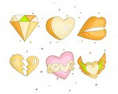 Cute Funny Girl Teenager Colored Icon Set, Fashion Cute Teen And Princess Icons. Magic Fun Cute Girl poster