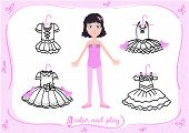 Young Girl As Little Ballet Dancer. Dress Up Paper Doll In Cartoon Style With Ballet Tutus In Black  poster