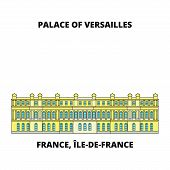 France, Ile-de-france - Palace And Park Of Versailles Line Travel Landmark, Skyline, Vector Design.  poster