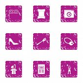 Script Icons Set. Grunge Set Of 9 Script Icons For Web Isolated On White Background poster