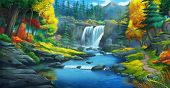 The Waterfall Forest. Fiction Backdrop. Concept Art. Realistic Illustration. Video Game Digital Cg A poster