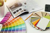 Designer Workplace - Interior Paint Color And Furniture Material Samples poster