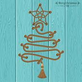 Merry Christmas And Happy New Year Concept. Decorative Christmas Tree From Ropes With Rivets And Sta poster