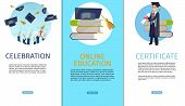 Vector Concept Illustration Cartoon Happy Students. Banner Set Vertical Image Topic Celebration, Onl poster