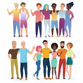 Group Of Vector Happy Friends People In Casual Clothes Isolated. poster