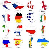 image of offside  - a selection of images showing the map shaped flags of all the competing countries of the 2012 european championship football tournament - JPG